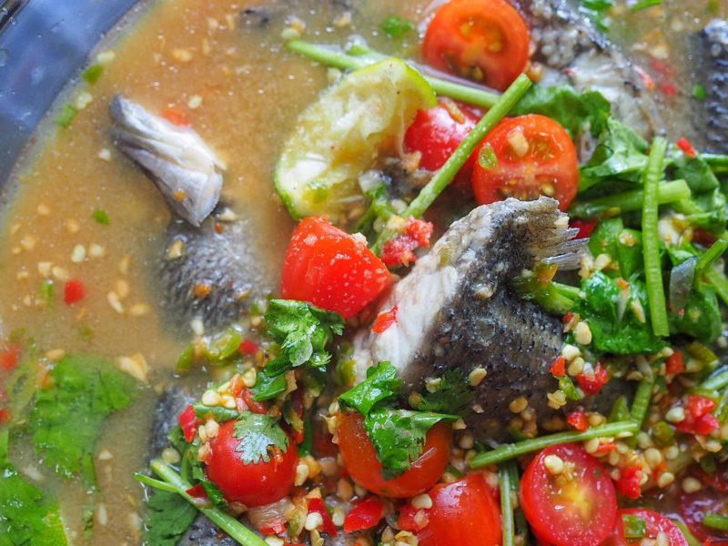 mudah sedap masak ikan siakap rebus ala thai buzzkini Resepi Ikan Siakap Masak Asam Pedas Enak dan Mudah